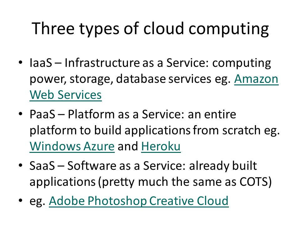 Utility computing Carr (The Big Shift) – in the same way that private production of electricity was replaced by utility companies, private computing is being replaced by utility computing The cloud is actually extremely tangible, and a huge user of energy The big players include – Amazon, Microsoft, and Google (this is what one looks like) 6mthis is what one looks like The three reasons to cloud compute (Christopher Barnatt) The three reasons to cloud compute