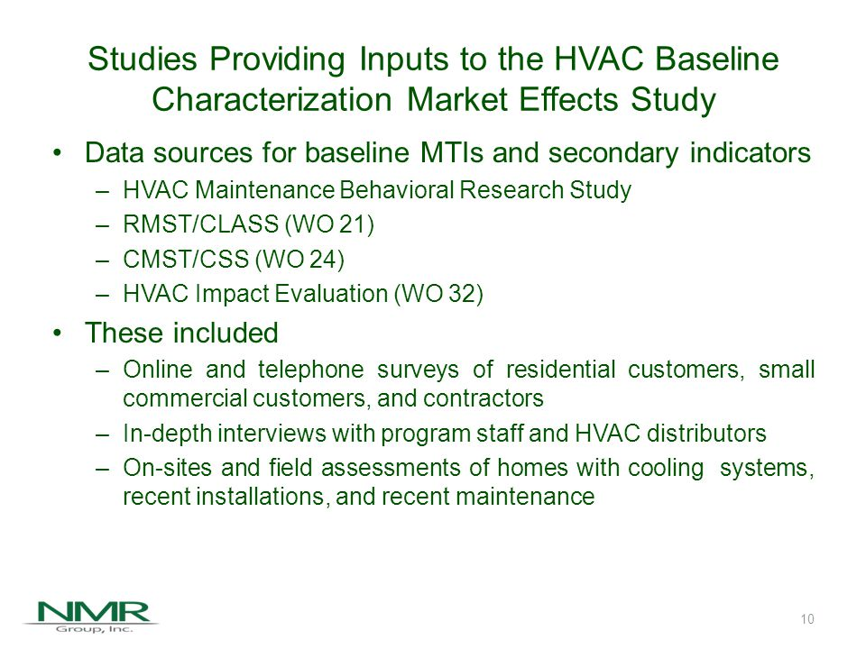 Agenda Overall Study Objectives Subprograms and Indicators of Progress Inputs to the HVAC Baseline Market Characterization Study Key Conclusions Recommendations 11