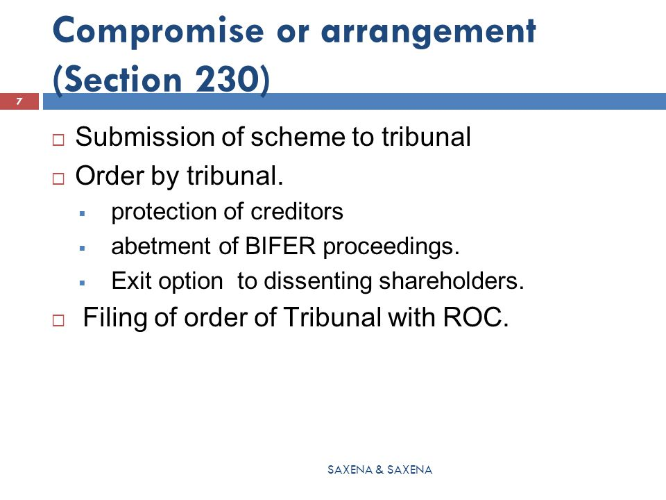 Merger & Amalgamation (Section 233)  For the creditors meeting following shall also be circulated  Draft of proposed terms of scheme as approved by Directors  Confirmation of filing of draft scheme with ROC.