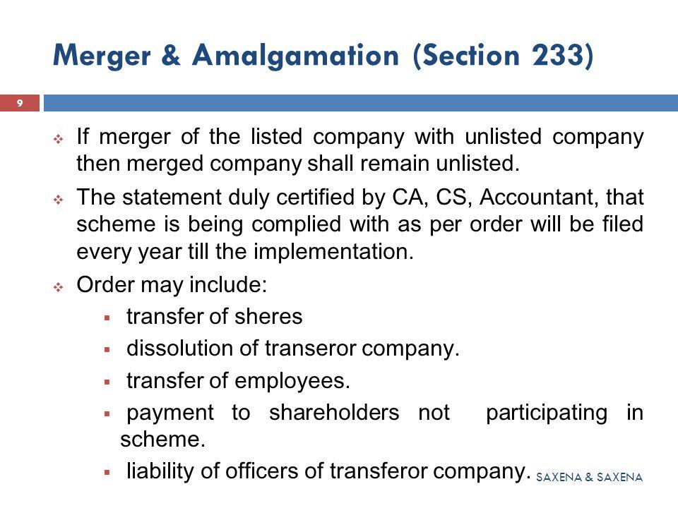 Merger & Amalgamation (Section 233)  Setting off the Fee on authorised.