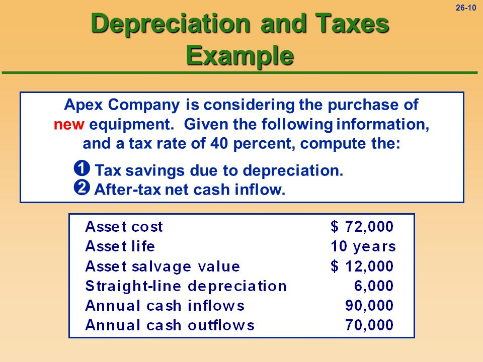 26-10 Depreciation and Taxes Example Apex Company is considering the purchase of new equipment.