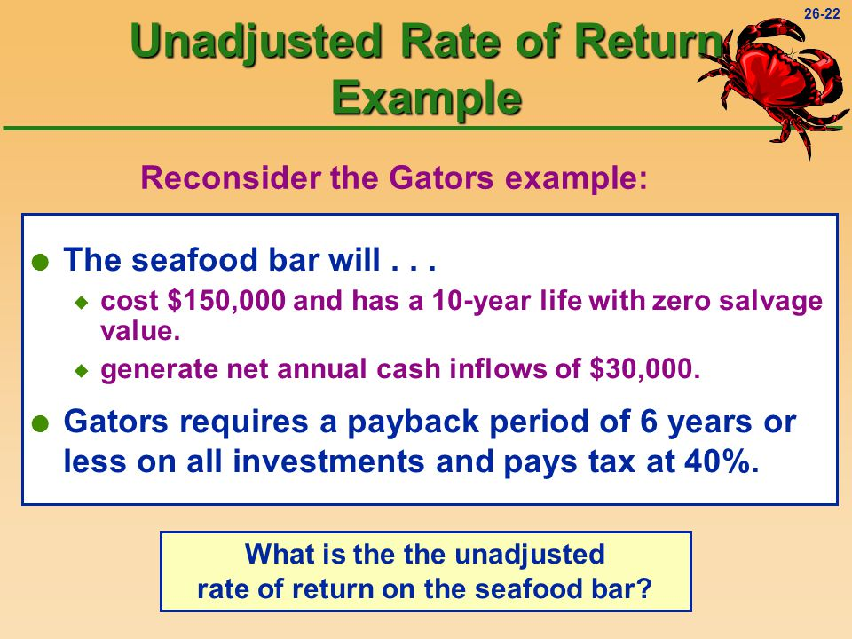 26-22 Unadjusted Rate of Return Example What is the the unadjusted rate of return on the seafood bar.