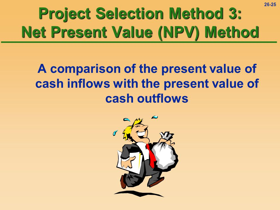 26-25 Project Selection Method 3: Net Present Value (NPV) Method A comparison of the present value of cash inflows with the present value of cash outflows