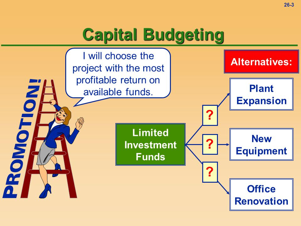 26-3 I will choose the project with the most profitable return on available funds.