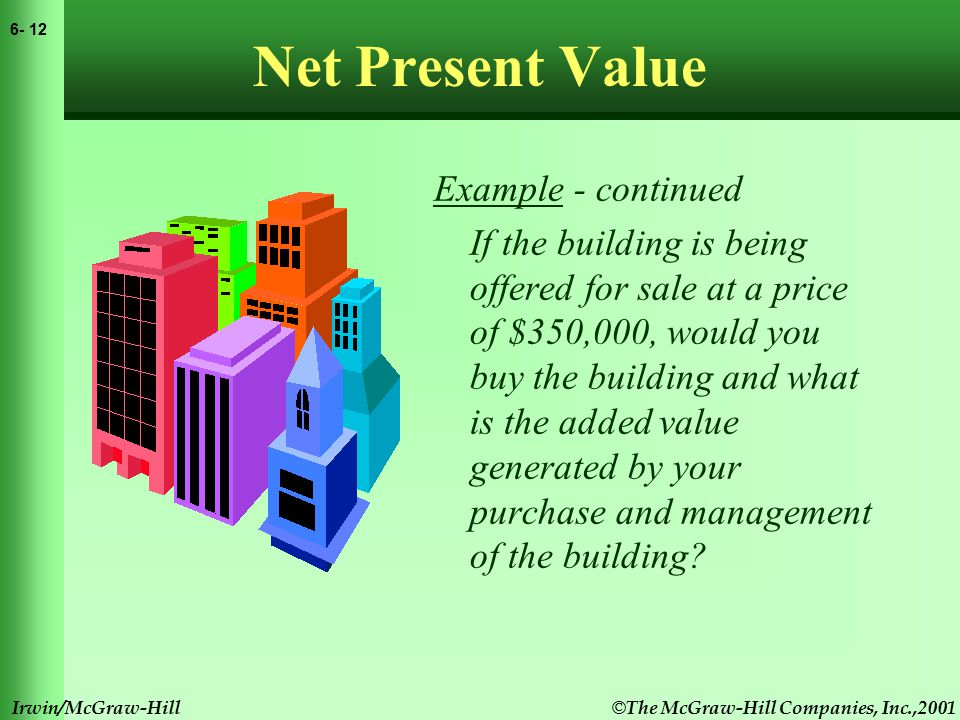 © The McGraw-Hill Companies, Inc.,2001 6- 13 Irwin/McGraw-Hill Net Present Value Example - continued If the building is being offered for sale at a price of $350,000, would you buy the building and what is the added value generated by your purchase and management of the building?