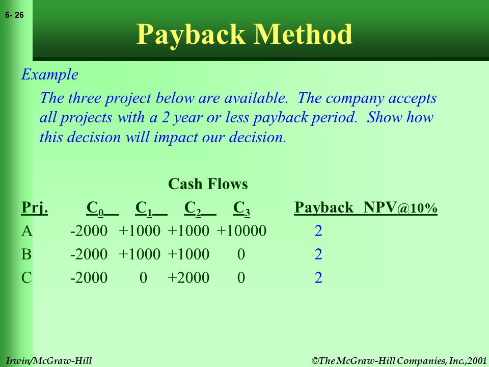 © The McGraw-Hill Companies, Inc.,2001 6- 27 Irwin/McGraw-Hill Payback Method Example The three project below are available.