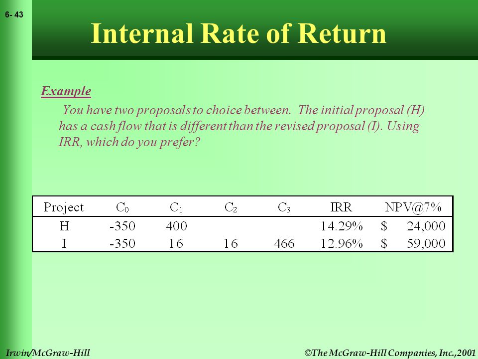 © The McGraw-Hill Companies, Inc.,2001 6- 44 Irwin/McGraw-Hill Internal Rate of Return Example You have two proposals to choice between.