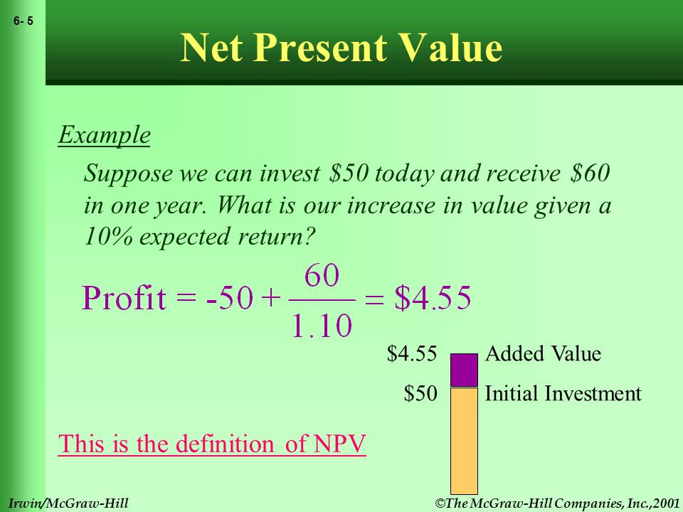 © The McGraw-Hill Companies, Inc.,2001 6- 6 Irwin/McGraw-Hill Net Present Value NPV = PV - required investment