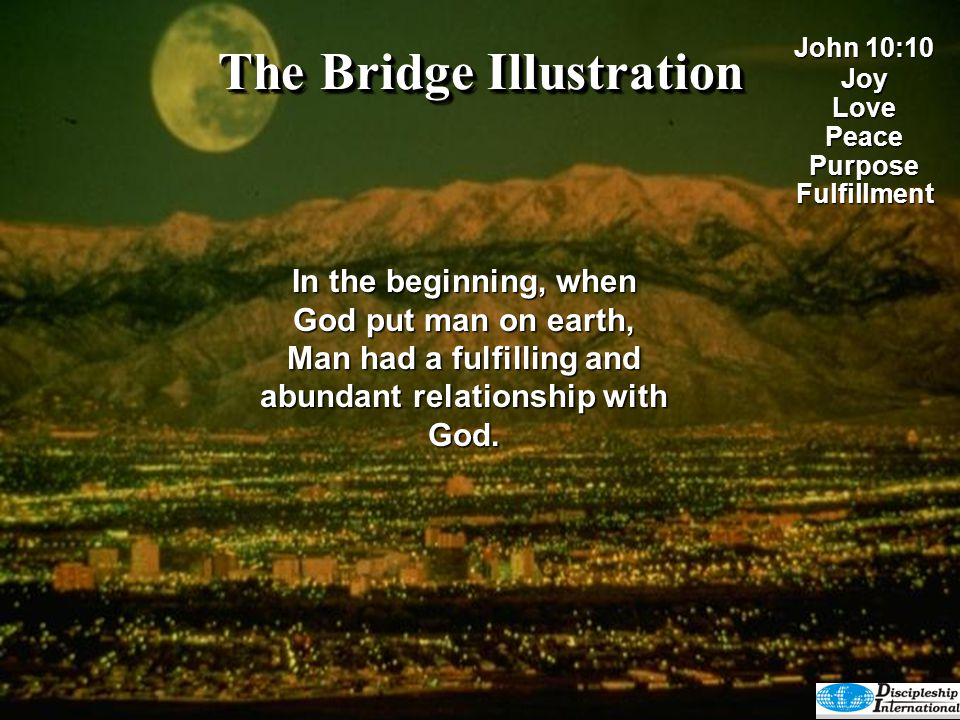 The Bridge Illustration (Jesus speaking) I have come that they may have life, and have it to the full.