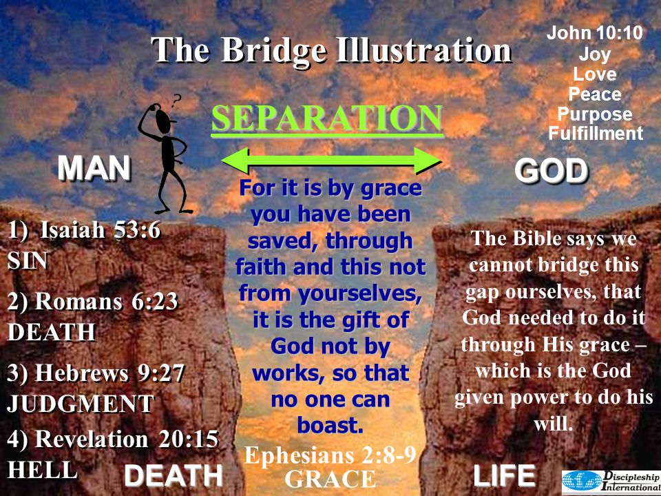The Bridge Illustration GODGOD DEATHLIFE Ephesians 2:8,9 GRACE Ephesians 2:8,9 GRACE God has the remedy.