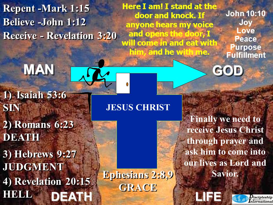 GODGOD DEATHLIFE 6) John 5:24 1.HAS ETERNAL LIFE 2.NO CONDEMNATION 3.CROSSED OVER FROM DEATH TO LIFE 6) John 5:24 1.HAS ETERNAL LIFE 2.NO CONDEMNATION 3.CROSSED OVER FROM DEATH TO LIFE 4) Revelation 20:15 HELL 4) Revelation 20:15 HELL 2) Romans 6:23 DEATH 3) Hebrews 9:27 JUDGMENT 3) Hebrews 9:27 JUDGMENT 1)Isaiah 53:6 SIN 1)Isaiah 53:6 SIN Receive - Revelation 3:20 Repent -Mark 1:15 Believe -John 1:12 5) Romans 5:8 God's Remedy 5) Romans 5:8 God's Remedy John 10:10 JoyLovePeacePurposeFulfillment Ephesians 2:8,9 GRACE Ephesians 2:8,9 GRACE JESUS CHRIST I tell you the truth, whoever hears my word and believes him who sent me has eternal life and will not be condemned; he has crossed over from death to life.MANMAN