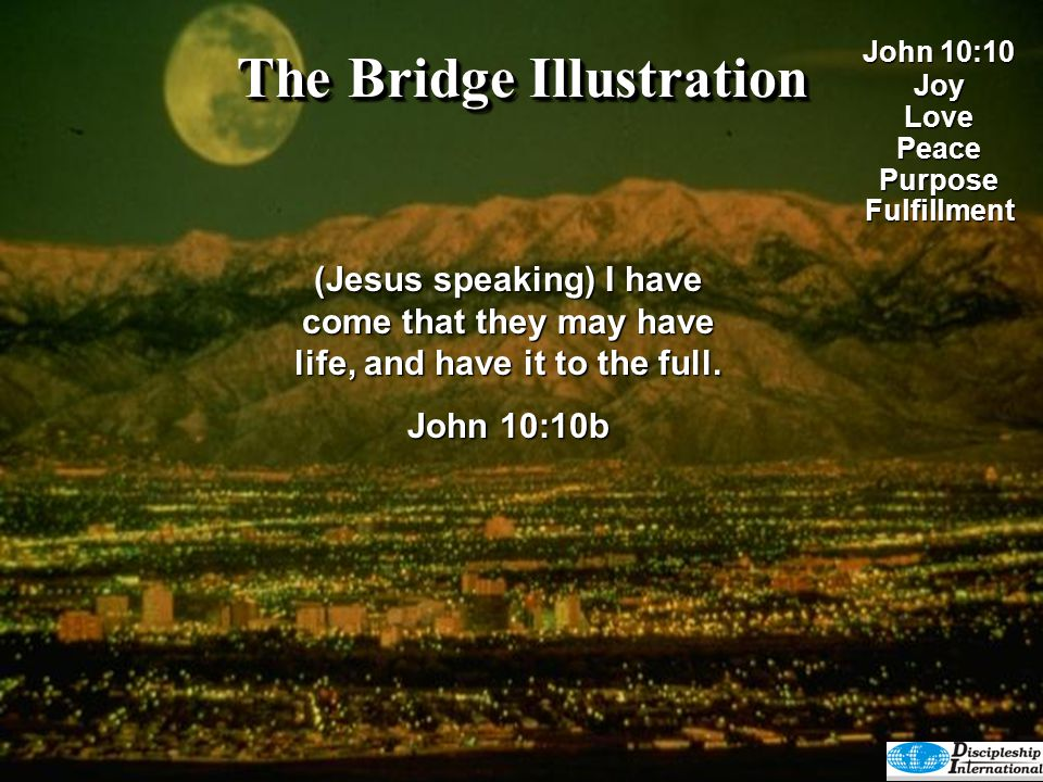 The Bridge Illustration But God did not create man to be like a robot who would automatically love and have fellowship with Him.