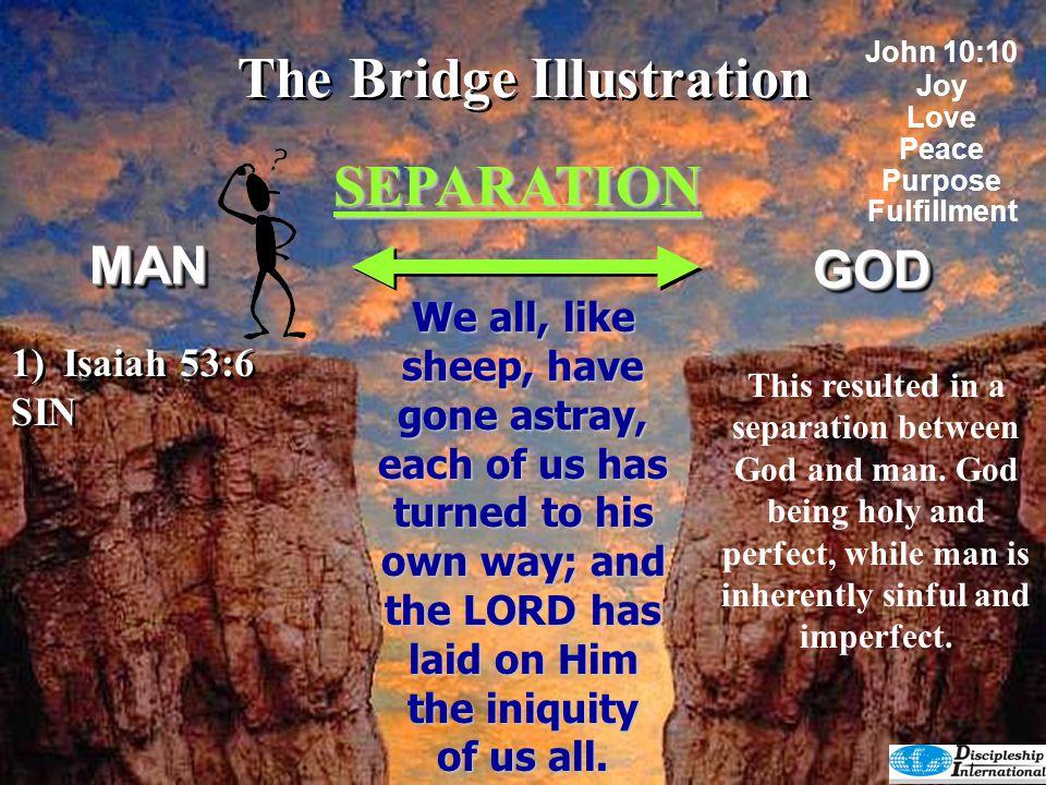 The Bridge Illustration SEPARATION GODGOD DEATHLIFE For the wages of sin is death, but the gift of God is eternal life in Christ Jesus our Lord.