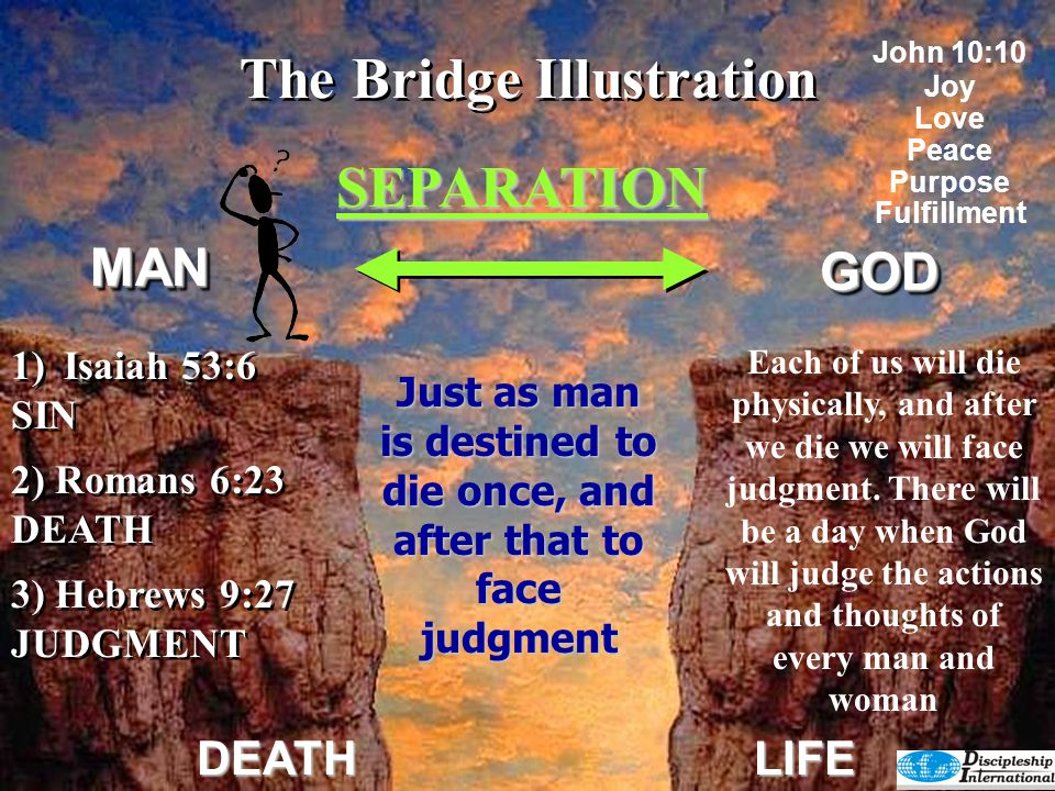 The Bridge Illustration SEPARATION GODGOD DEATHLIFE 4) Revelation 20:15 HELL 4) Revelation 20:15 HELL God's judgment falls on unholy man resulting in an eternity separated from Him.