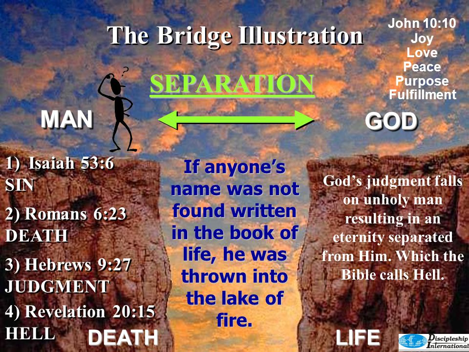The Bridge Illustration SEPARATION GODGOD DEATHLIFE Works 4) Revelation 20:15 HELL 4) Revelation 20:15 HELL 2) Romans 6:23 DEATH 3) Hebrews 9:27 JUDGMENT 3) Hebrews 9:27 JUDGMENT This results in a pretty dismal picture of our situation on man's side of the chasm.