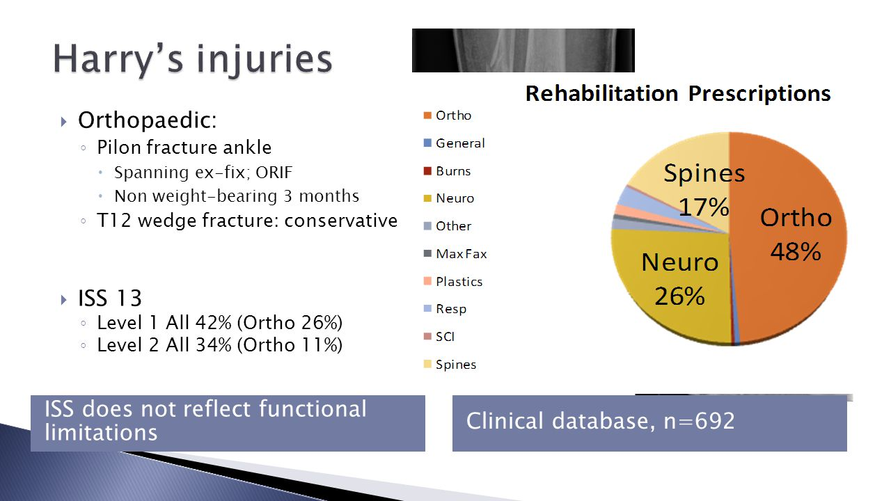 Inpatient Rehabilitation Needs n=143Initial Mobility97% IADL79% Wound management73% Pain95% Environment50% Vocation/Education21% Urinary incontinence14% Nutrition7% Ventilator / Pulm rehab2% Mood4% Other Upper limb function6% Falls/balance1% Sports / hobbies1% ◦ Physiotherapy ◦ OT ◦ Nurse ◦ Orthopaedics ◦ Pain team Rehabilitation Prescription They were so good everybody, right through, the doctors as well