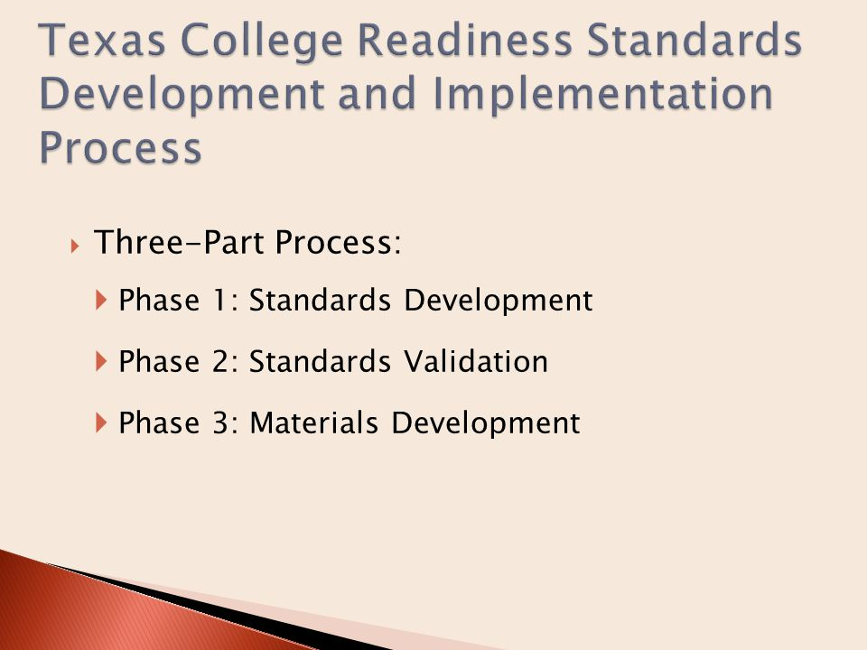  Standards development process mandated by HB 1  Required Vertical Teams (VT) composed of public and higher education faculty be created in four content areas:  English/language arts  Mathematics  Science  Social studies  Convergent Consensus Process:  VTs reviewed national and state standards  Four VT meetings  Online homework between each meeting  Consultations with VT co-chairs throughout the process