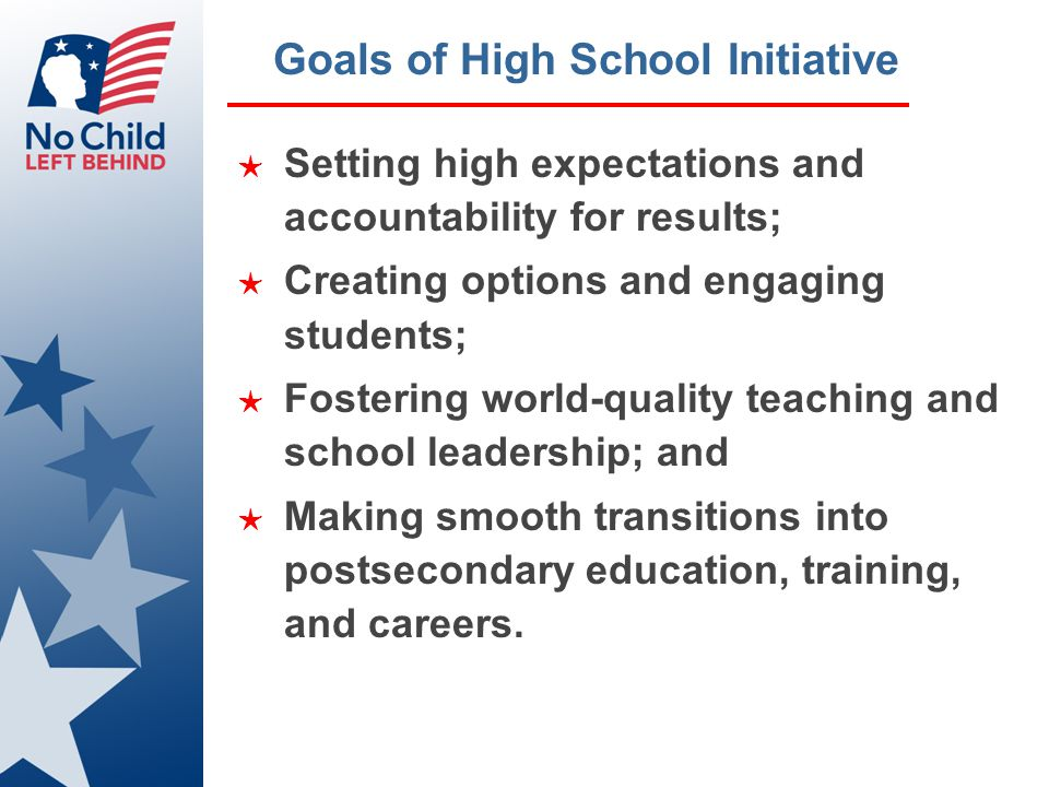 High School Initiative ★ October 8 th Summit ★ Webcast of speeches ★ Web versions of issues papers ★ Web versions of transcripts of afternoon session ★ www.vodium.com/mediapod/ed/hig h_school_leadership/ ★ Regional Meetings ★ Technical Assistance Corps ★ CareerVoyages.gov