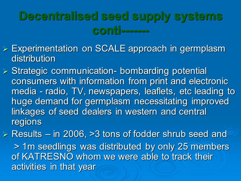 Developing market-based seed and seedlings distribution