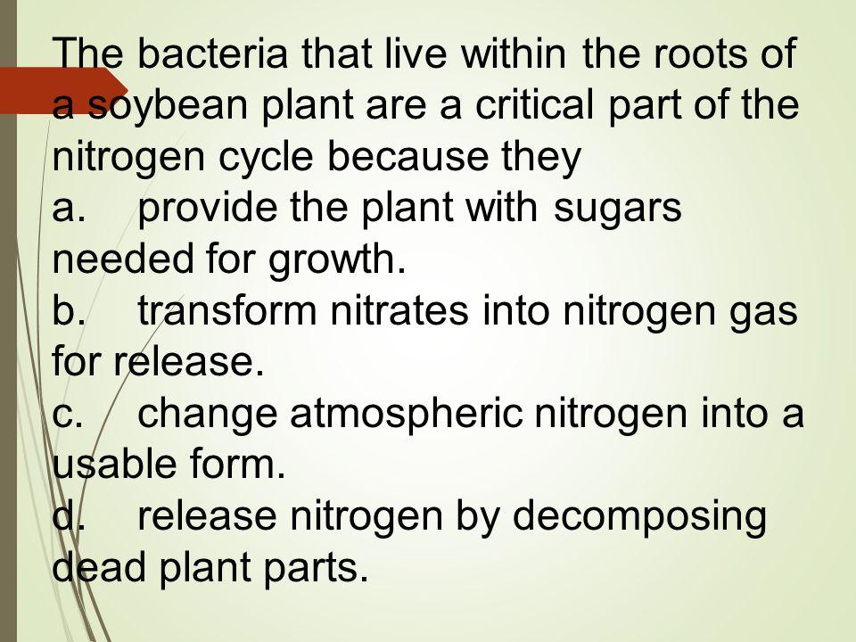 c.change atmospheric nitrogen into a usable form.