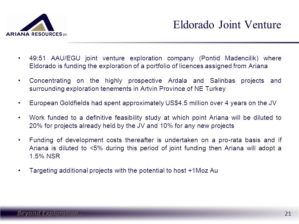Beyond Exploration… 22 Ardala and Salinbas SALINBAS 55m at 7.8 Au g/t ARDALA 0.25% Cu, 0.45 g/t Au (+Mo) Drilling Results 2012 New drilling has defined a gently dipping mineralised body Best intercepts related to the follow-up drilling include: 9.5m @ 6.48 g/t Au + 39.4 g/t Ag; 11.3m @ 4.98 g/t Au + 42.8 g/t Ag and, 25m @ 3.34 g/t Au + 7.9 g/t Ag.