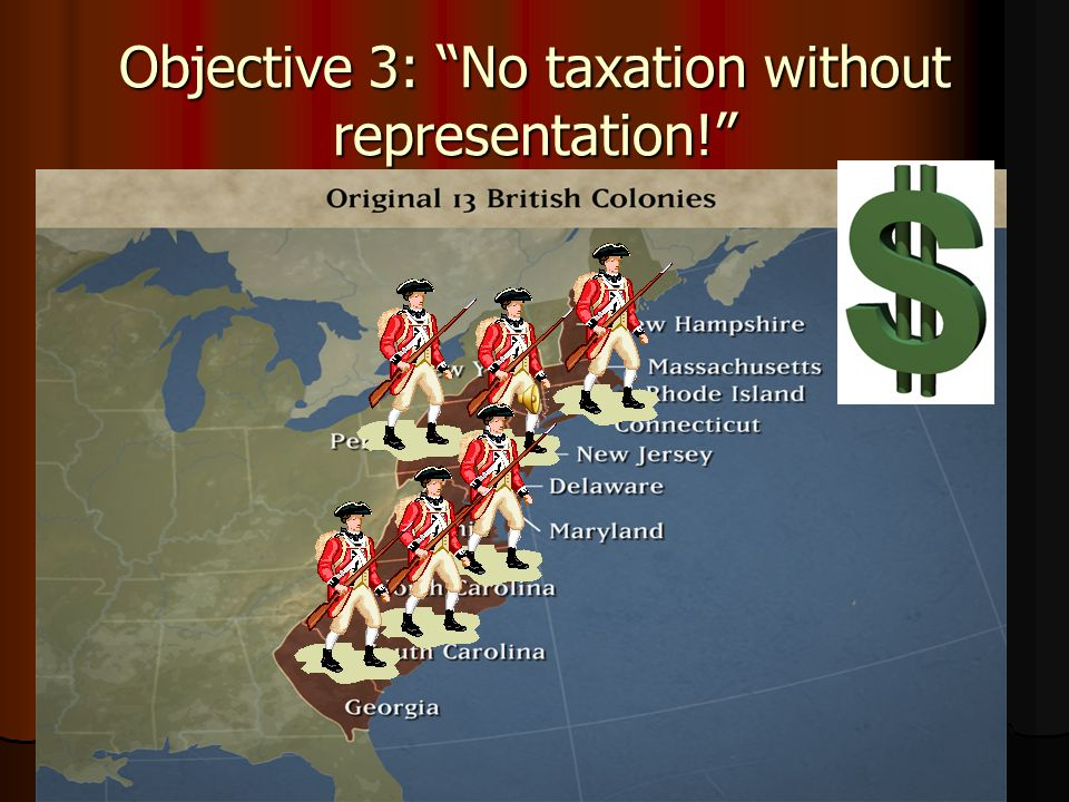 Objective 3: No taxation without representation!