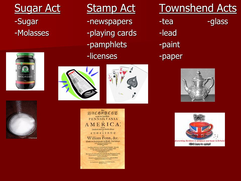 Sugar ActStamp ActTownshend Acts -Sugar-newspapers-tea-glass -Molasses -playing cards-lead -pamphlets-paint -licenses-paper