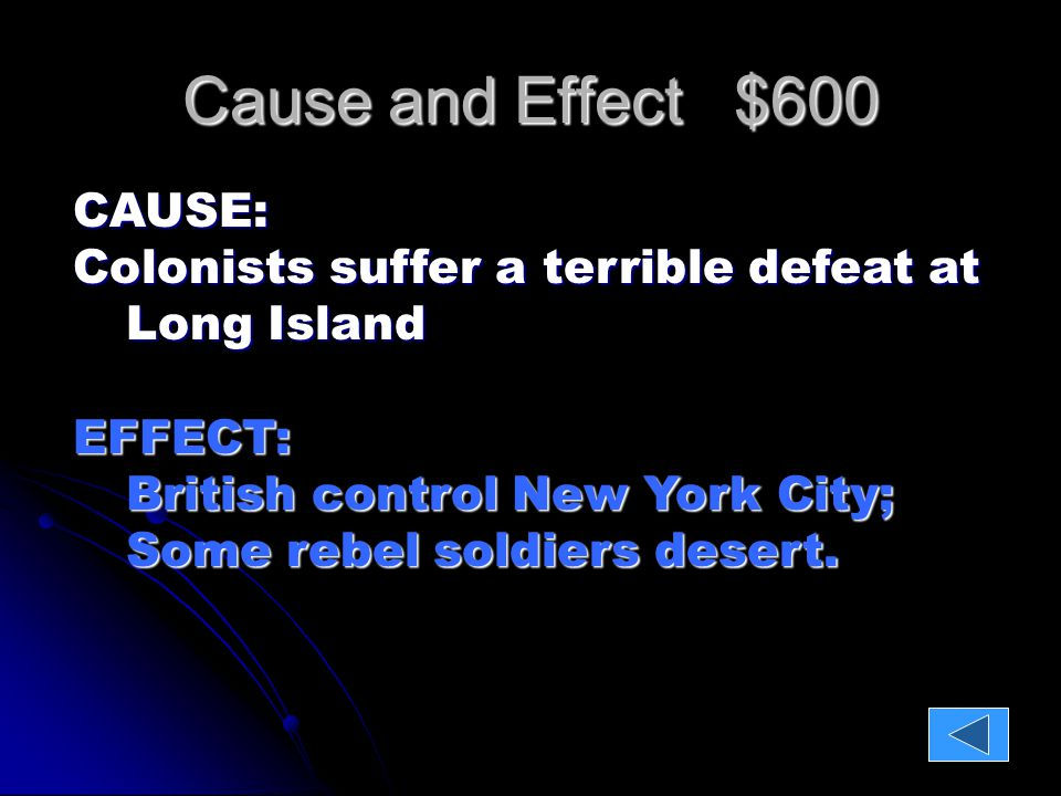 Cause and Effect $800 CAUSE: Washington surprises the British at Trenton and then again a Princeton…