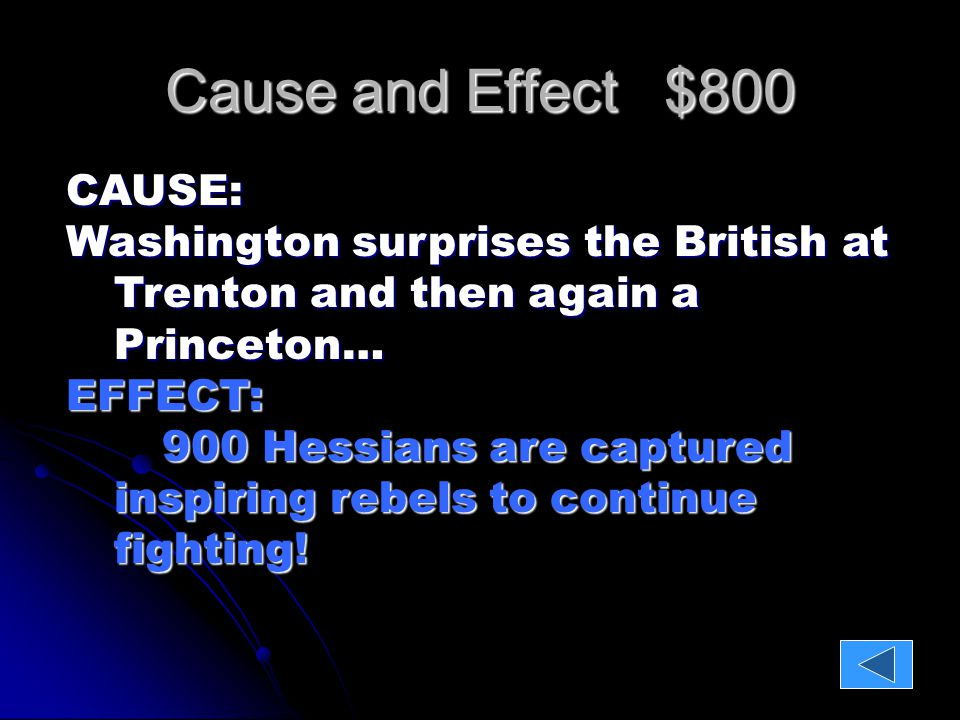 Cause and Effect $1000 CAUSE: British General Johnny Burgoyne surrenders to the Rebel leader Horatio Gates at Saratoga… (two impacts)