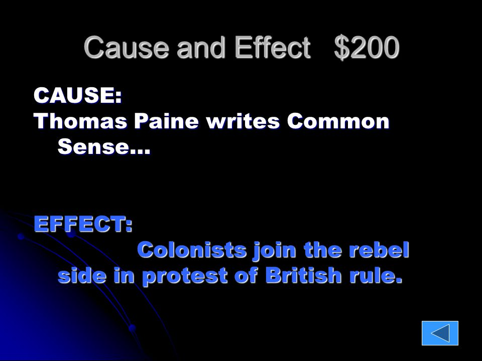 Cause and Effect $400 CAUSE: King George turns down the Olive Branch Petition…