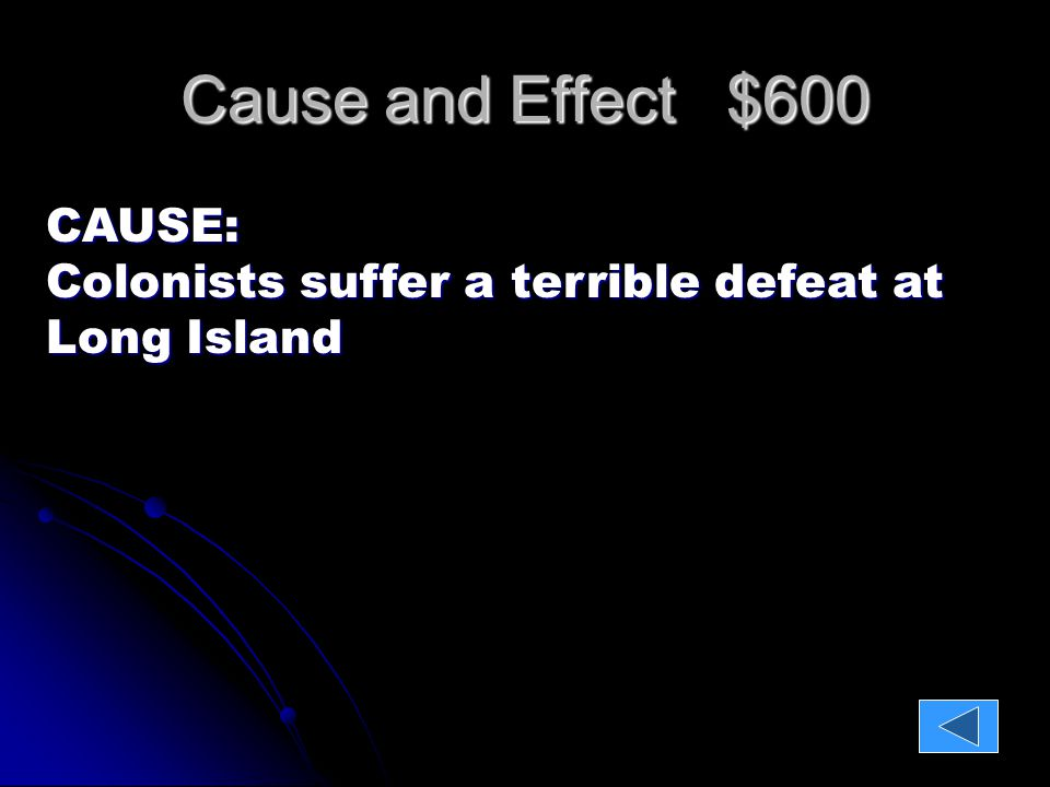 Cause and Effect $600 CAUSE: Colonists suffer a terrible defeat at Long Island EFFECT: British control New York City; Some rebel soldiers desert.