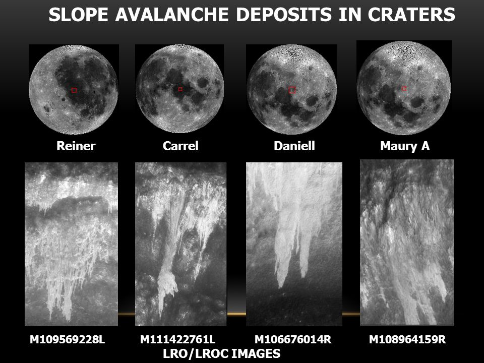 SLOPE AVALANCHE DEPOSITS IN CRATER MAURY Fine fraction (~ 5  ) seems to have played a major role in the creation of a high degree of fluidity of sloping flows.