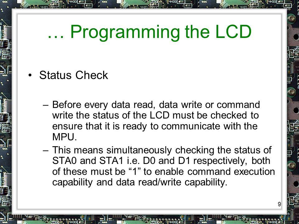 10 … Programming the LCD … Data Transmission