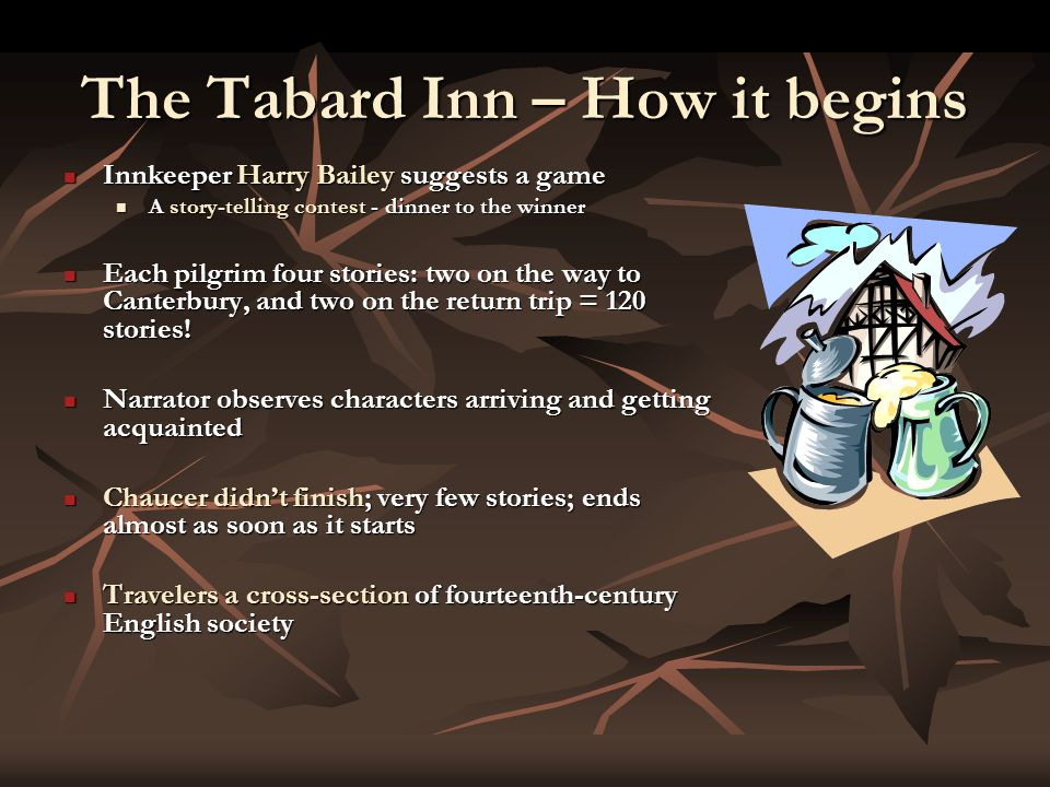 The Tabard Inn – How it begins Innkeeper Harry Bailey suggests a game Innkeeper Harry Bailey suggests a game A story-telling contest - dinner to the winner A story-telling contest - dinner to the winner Each pilgrim four stories: two on the way to Canterbury, and two on the return trip = 120 stories.