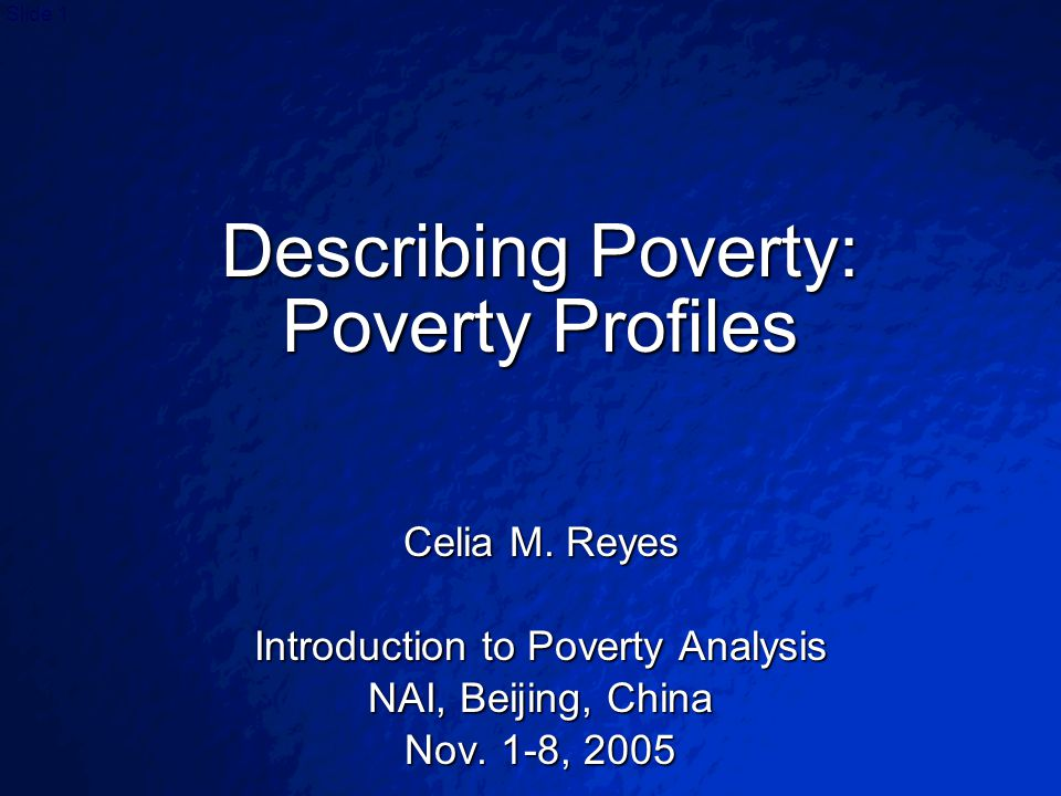 © 2003 By Default!Slide 2 Poverty Profiles A poverty profile sets out the major facts on poverty (and, typically, inequality), and then examines the pattern of poverty, to see how it varies by A poverty profile sets out the major facts on poverty (and, typically, inequality), and then examines the pattern of poverty, to see how it varies by –geography (by region, urban/rural, mountain/plain, etc.), –by community characteristics (e.g.