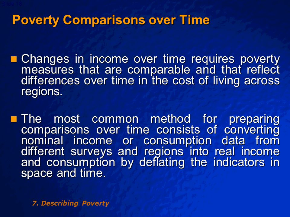 © 2003 By Default!Slide 19 Poverty Comparisons over Time Poverty Comparisons over Time Constant poverty line can then be applied to these real values to infer poverty measures.