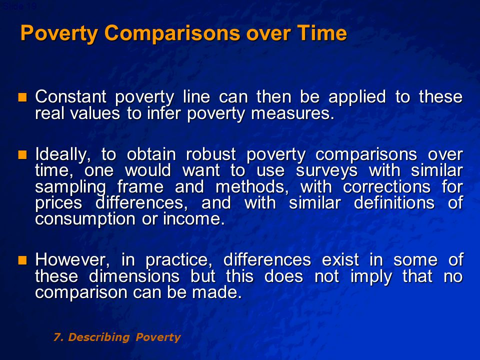 © 2003 By Default!Slide 20 Poverty Comparisons over Time Thus, the analyst will need to: Thus, the analyst will need to: –correct for major differences in the sampling frame and sapling method for the different surveys or the different rounds of a panel survey; –Use regional and temporal price indices to ensure a similar definition of the poverty line over time and across regions.