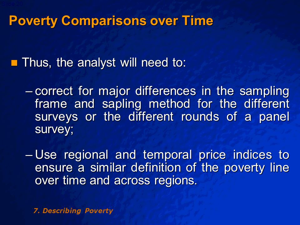 © 2003 By Default!Slide 21 Poverty Comparisons over Time Poverty Comparisons over Time –Adjust definition of consumption or income aggregates over time to ensure a similar definition is used to avoid important distortions of poverty measurement.