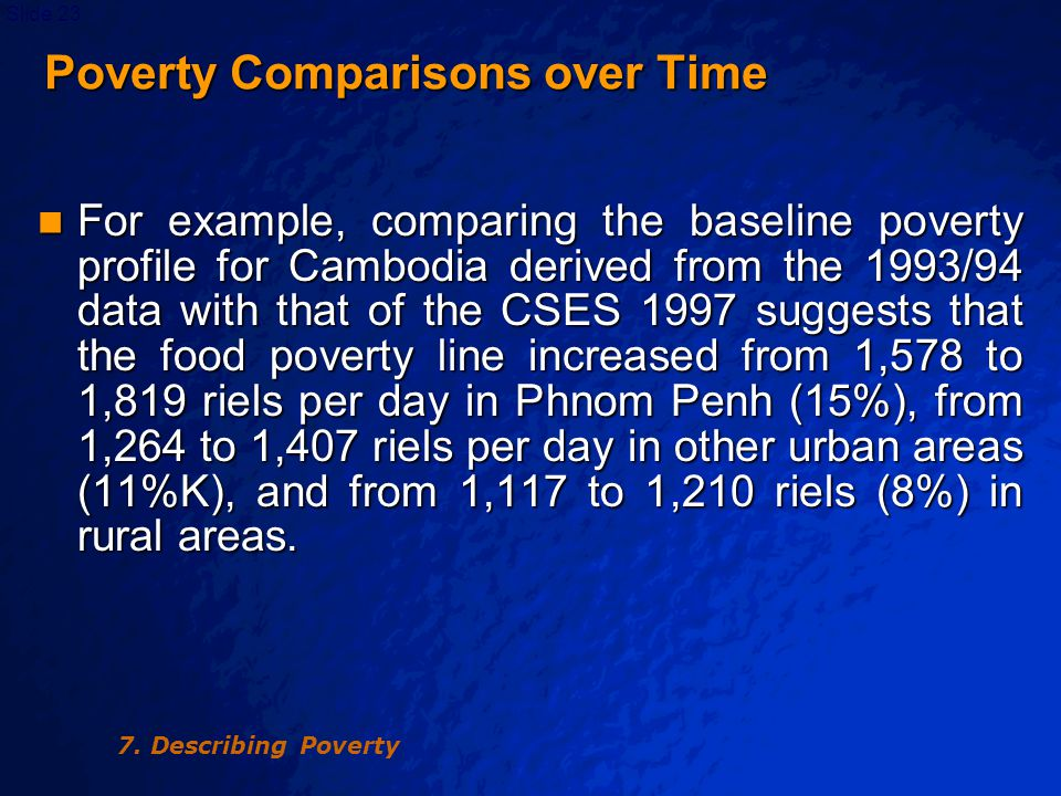 © 2003 By Default!Slide 24 Table 7.3 Cambodia: Poverty Measures, 1993-94 and June 1997