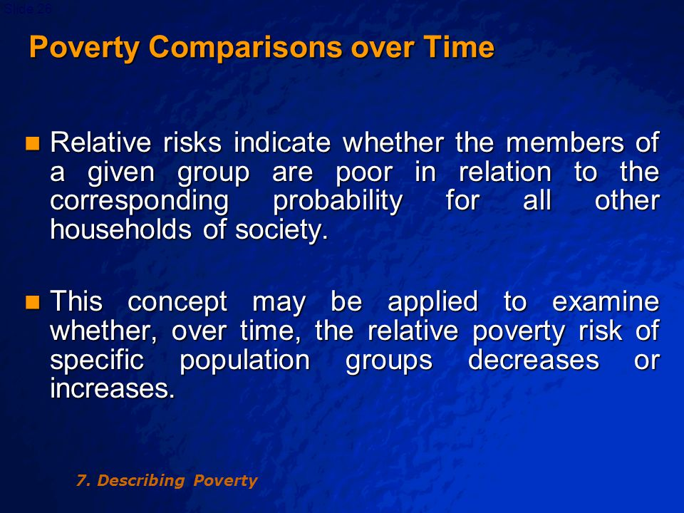 © 2003 By Default!Slide 27 Table 7.4 Peru: Poverty Risks for Selected Groups of Households, (%)
