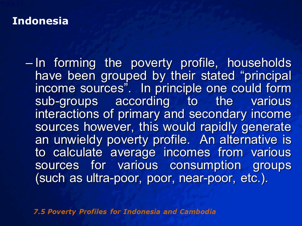 © 2003 By Default!Slide 32 Indonesia Indonesia –Changes in the poverty profile may arise from the contributions of different sub-groups in the poverty profile to changes over time in aggregate poverty.