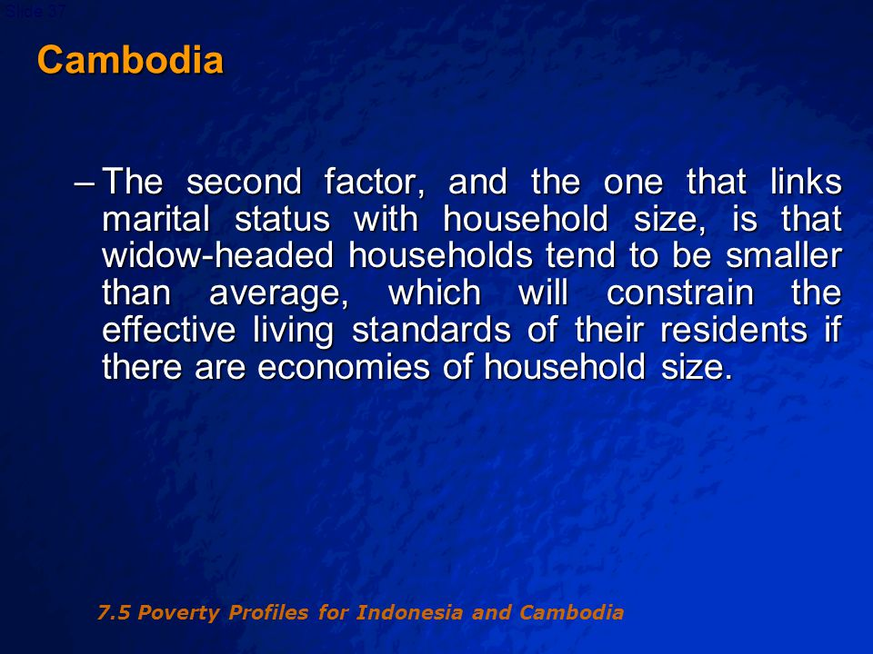 © 2003 By Default!Slide 38 0 10 20 30 40 50 60 12345678910+ Household Size Percentage Headcount index Share of total Figure 7.2 Poverty by household size