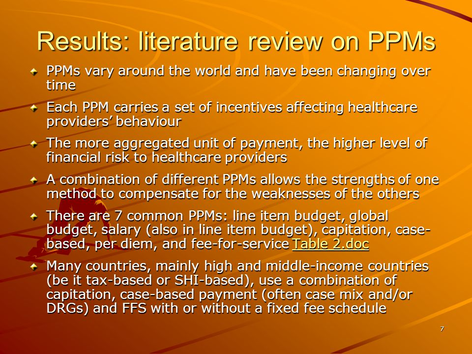8 Results: SHP schemes in Cambodia and their key characteristics SHP is defined as a series of public or publicly organized and mandated private measures against social distress and economic loss caused by the reduction of productivity, stoppage or reduction of earnings, or the cost of necessary treatment that can result from ill health Based on this definition, several schemes or programs under implementation or being developed in Cambodia can be considered as SHP schemes Table 3.doc Table 3.doc Table 3.doc Of these schemes, we selected only the demand- side schemes with a real third party purchaser, including HEF, CBHI, Occupational Risk, and SHI for further analysis of best practices on PPMs