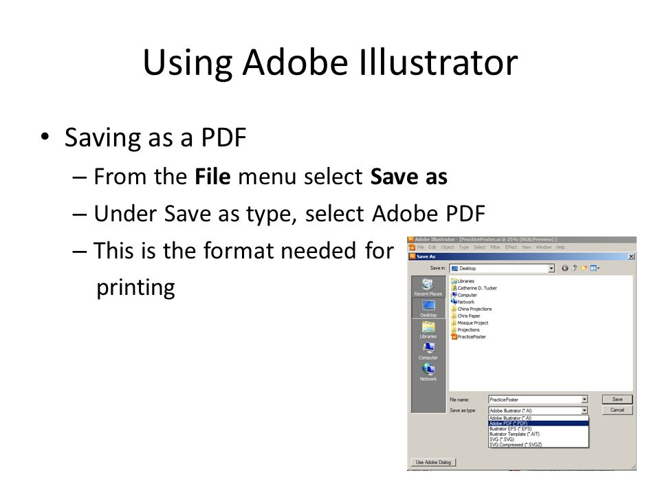 Using Adobe Illustrator Graphs – Best to create in Excel Charts – Best to create in Word Import them as multiple elements – Allows you to change individual things within Adobe Illustrator – Avoid pasting as a picture *Remember to use the shift key when changing the size of your charts and graphs