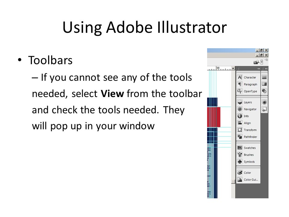 Using Adobe Illustrator Placing text in your poster – To create a text box, click on the Type Tool and then click and drag to draw a box on your poster.