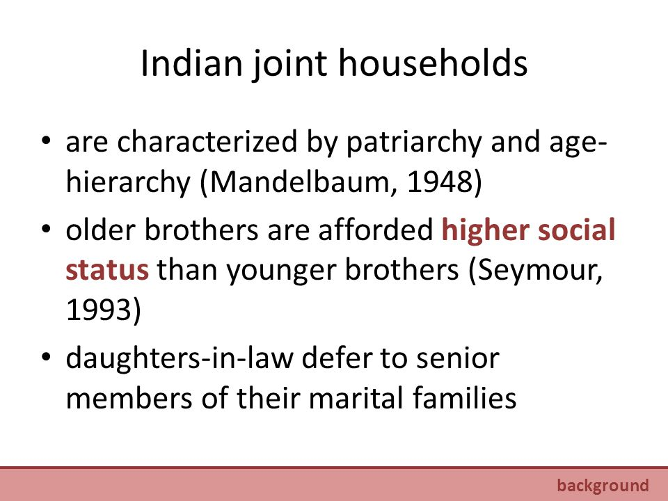 rank among daughters-in-law a wife inherits her husband's status in the household, which is determined by his birth order (Singh, 2005) there are more people to whom a second daughter-in-law must defer than a first daughter-in-law (Mandelbaum, 2005) senior wives tend to dominate young in- marrying wives (Dyson & Moore, 1983) background