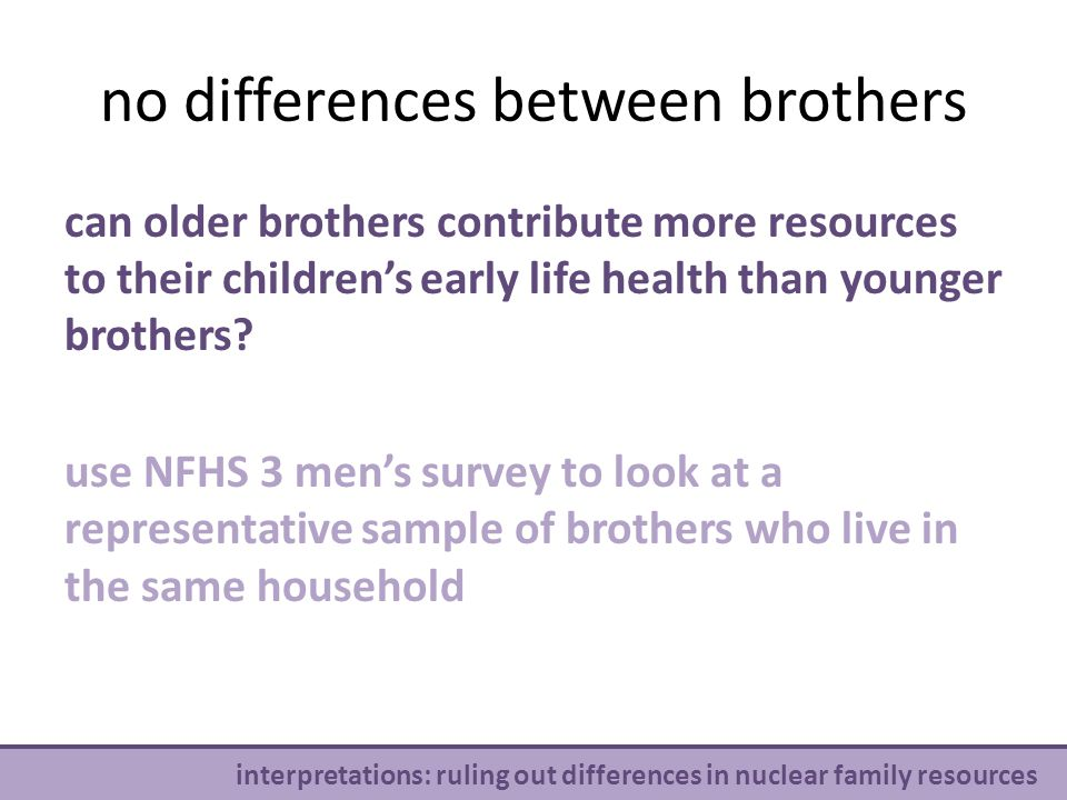 no differences between brothers v interpretations: ruling out differences in nuclear family resources