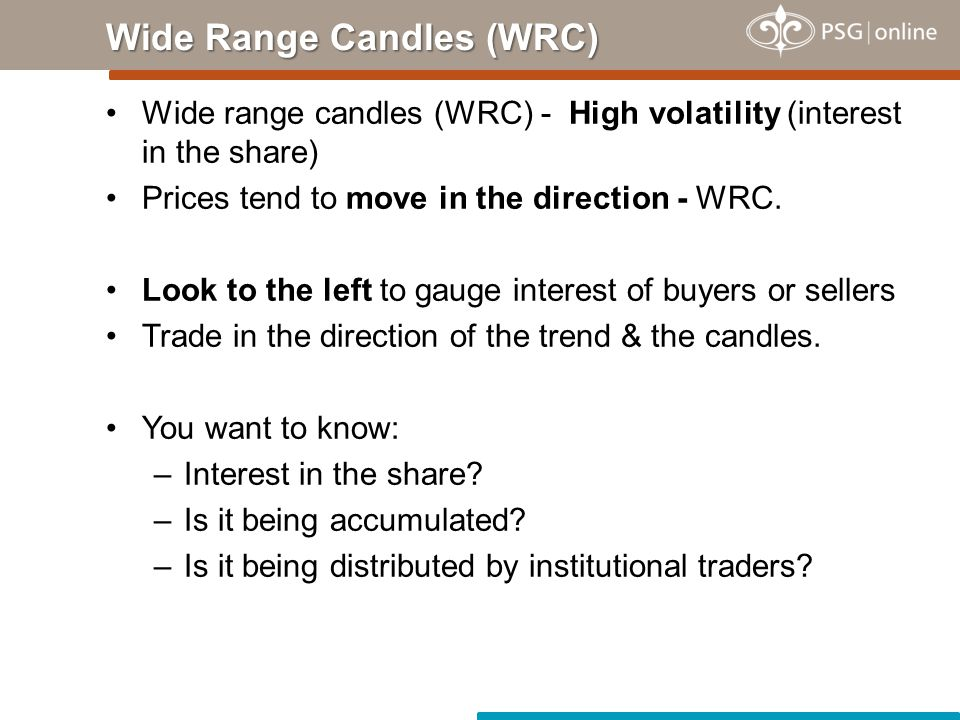 Narrow range candles (NRC) - Low volatility.–Period of very little interest in the share.