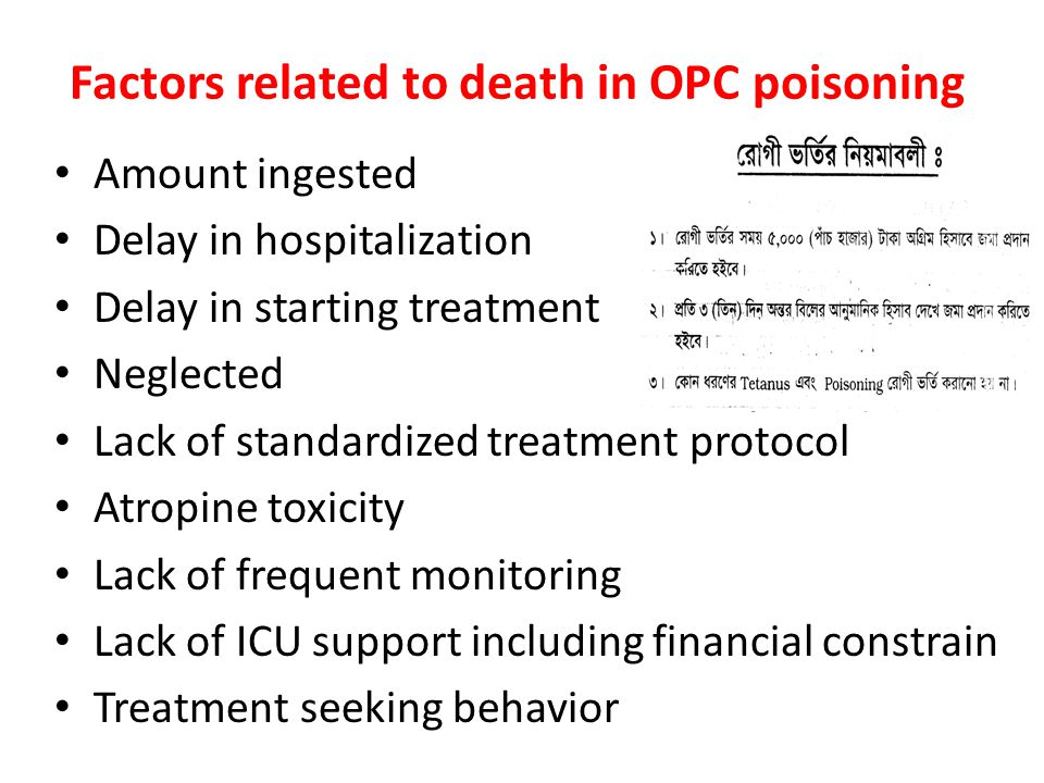 Factors related to death in OPC poisoning Amount ingested Delay in hospitalization Delay in starting treatment Neglected Lack of standardized treatment protocol Atropine toxicity Lack of frequent monitoring Lack of ICU support including financial constrain Treatment seeking behavior
