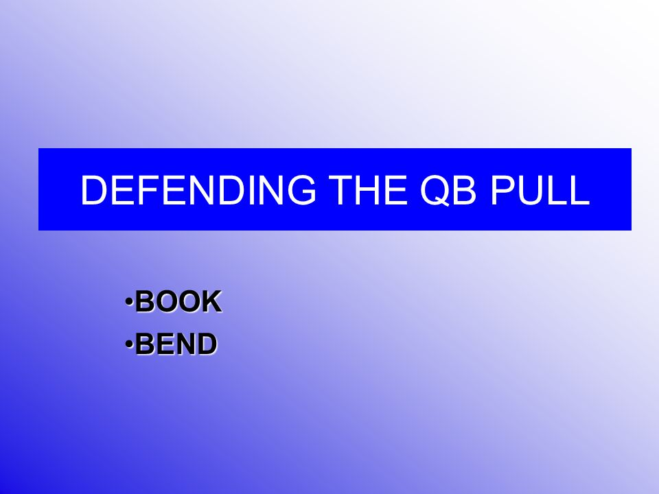 BEND Technique between DE and Linebacker Defensive End is the Bend player Linebacker is the book Player Linebacker makes a Tank call when 3T is to back TBN C s